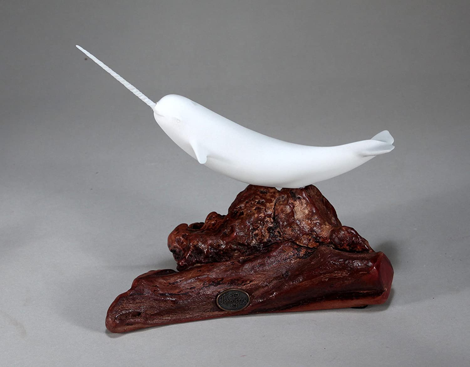 Narwhal Sculpture New Direct by John Perry Pellucida On Wood 7in Tall