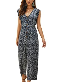 HIMNO Women's Vintage Jumpsuit Floral Print V Neck Ruffle Sleeve Casual Button Front Romper