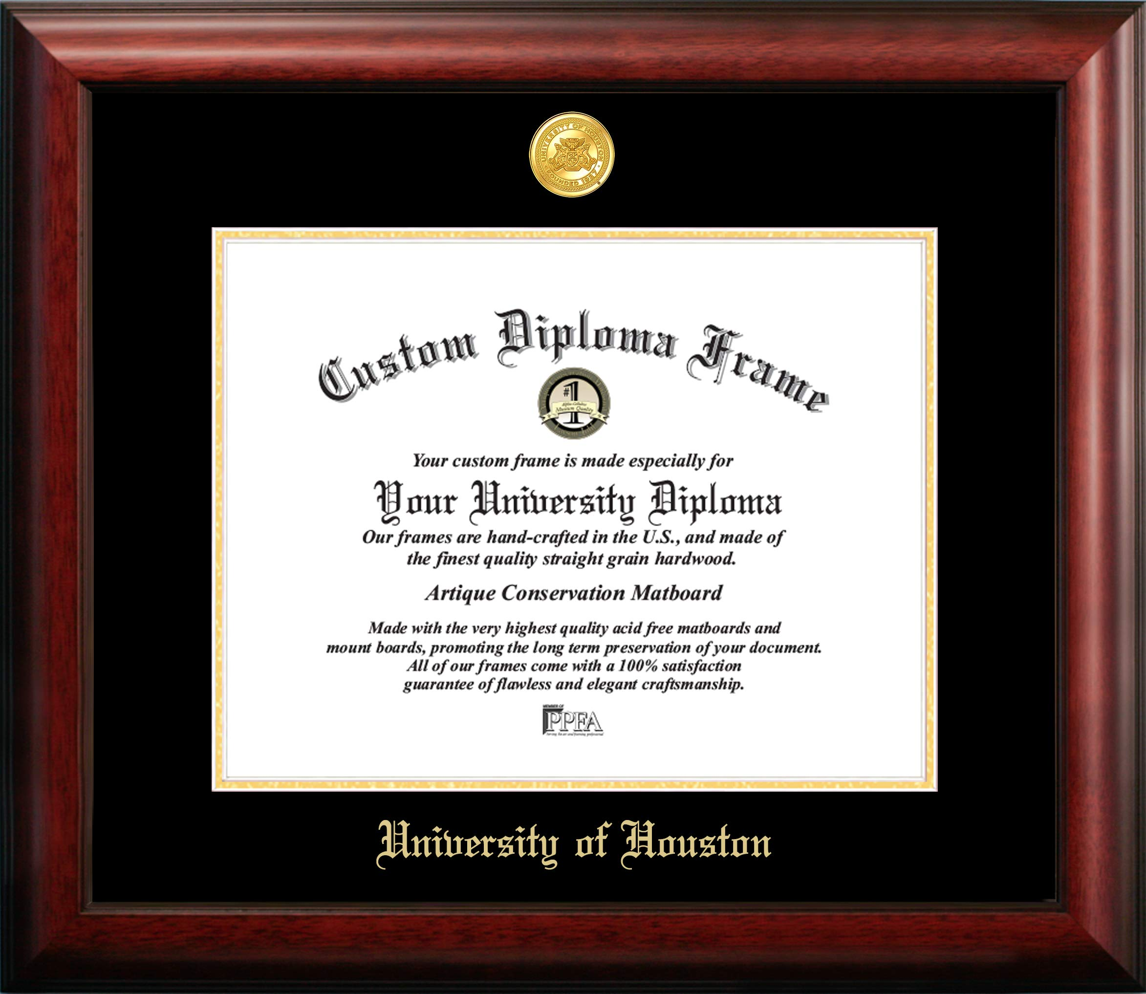 Campus Images University of Houston Gold Embossed Diploma Frame