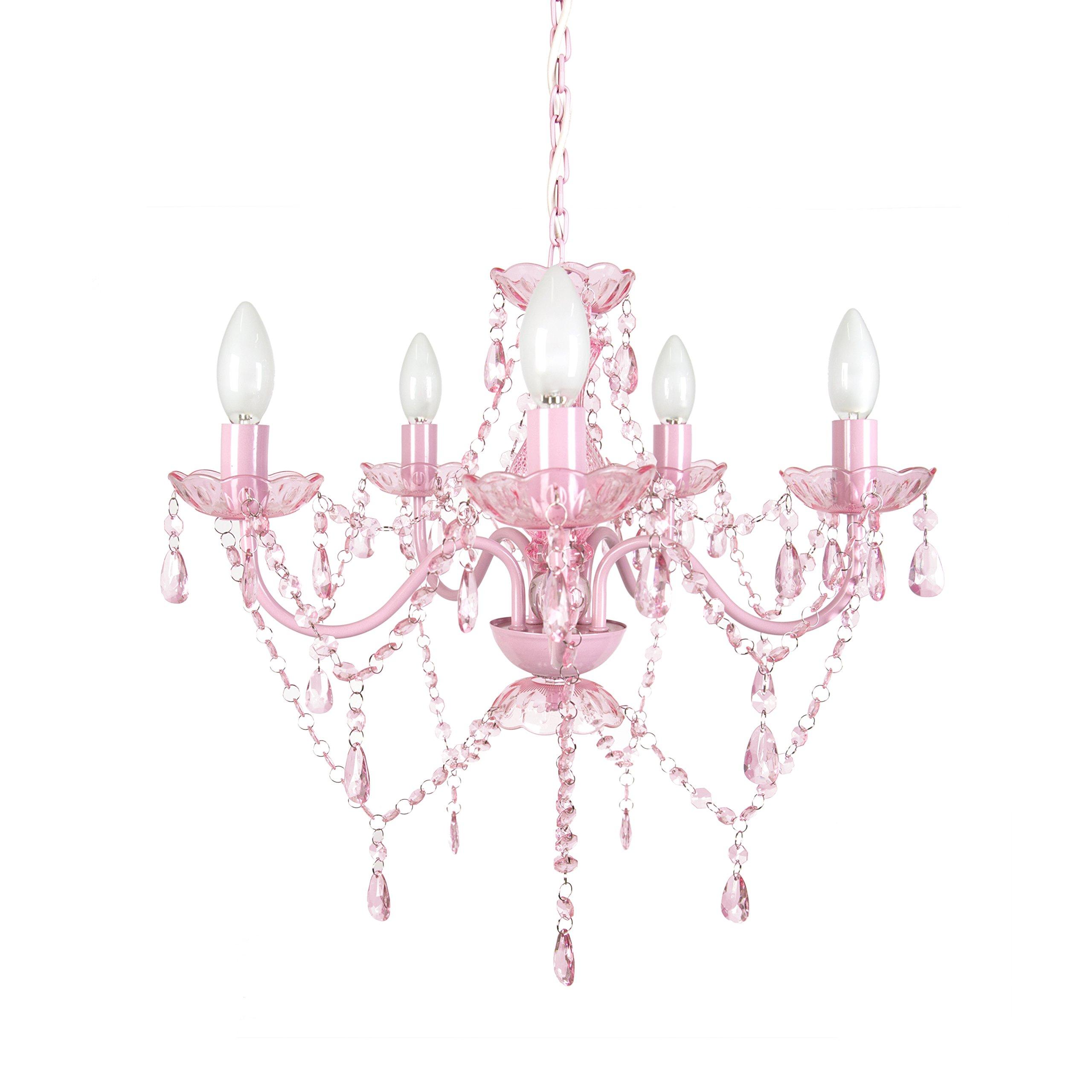 Tadpoles 5 Bulb Chandelier, Pink Sapphire