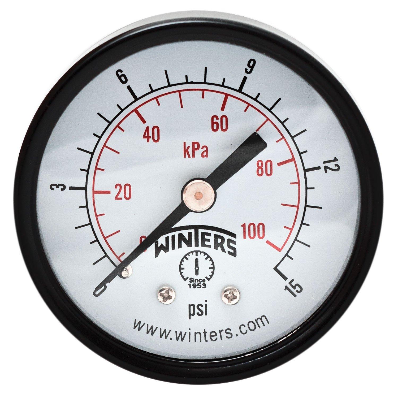 """Winters PEM Series Steel Dual Scale Economy Pressure Gauge, 0-15 psi/kpa, 2"""" Dial Display, +/-3-2-3% Accuracy, 1/8"""" NPT Center Back Mount"""
