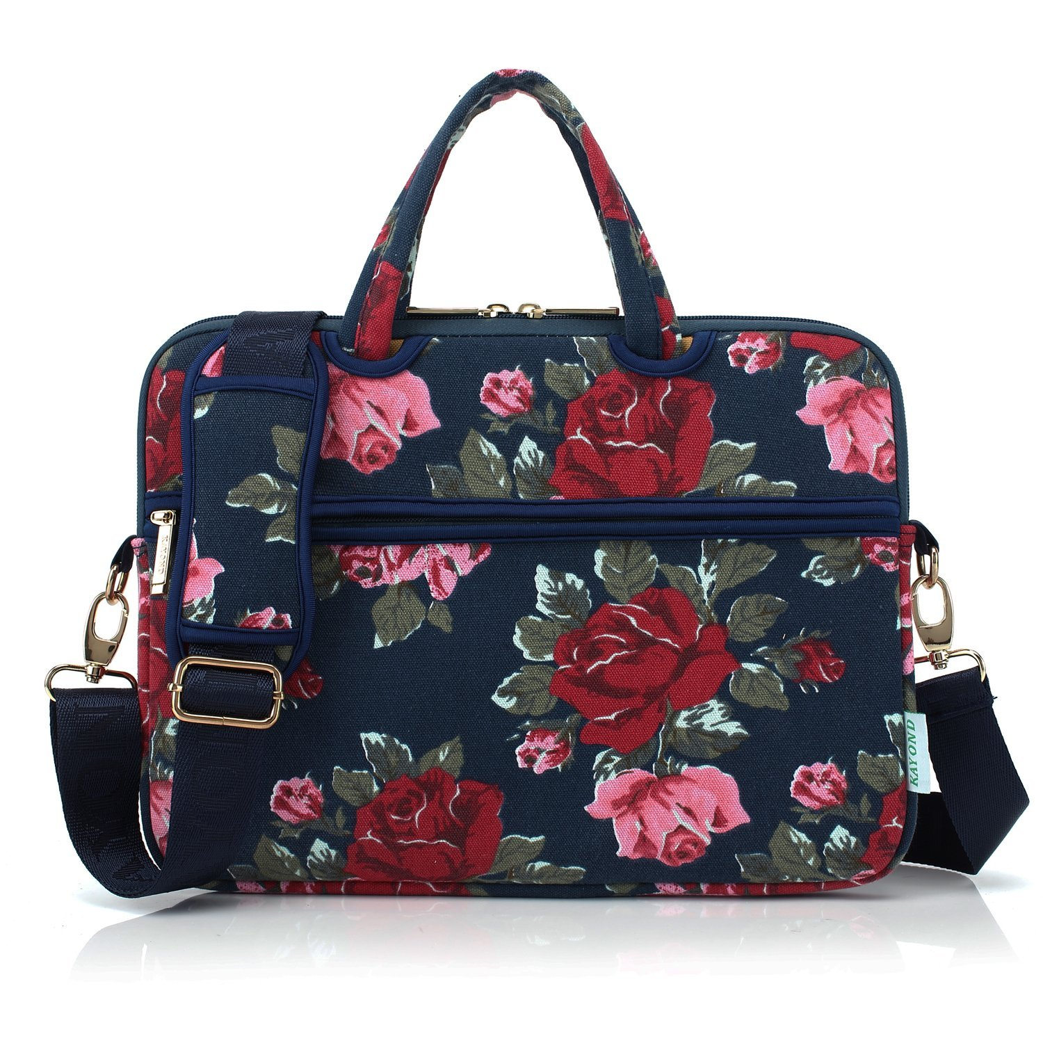 Kayond Canvas Ultraportable Water-Resistant Neoprene Laptop Carrying Case/Shoulder Messenger Bag/Daily Briefcase Work/School/Travel-Compatible MacBook Air Pro 13/ipad 12.9 (Bule Peony)