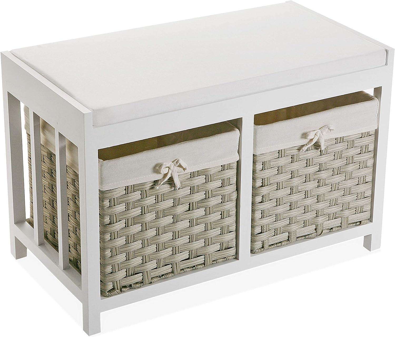 62 x 25 x 34 cm con 3 cassetti Bianco in Legno Versa 21520019 Mobile per Bagno o Cucina