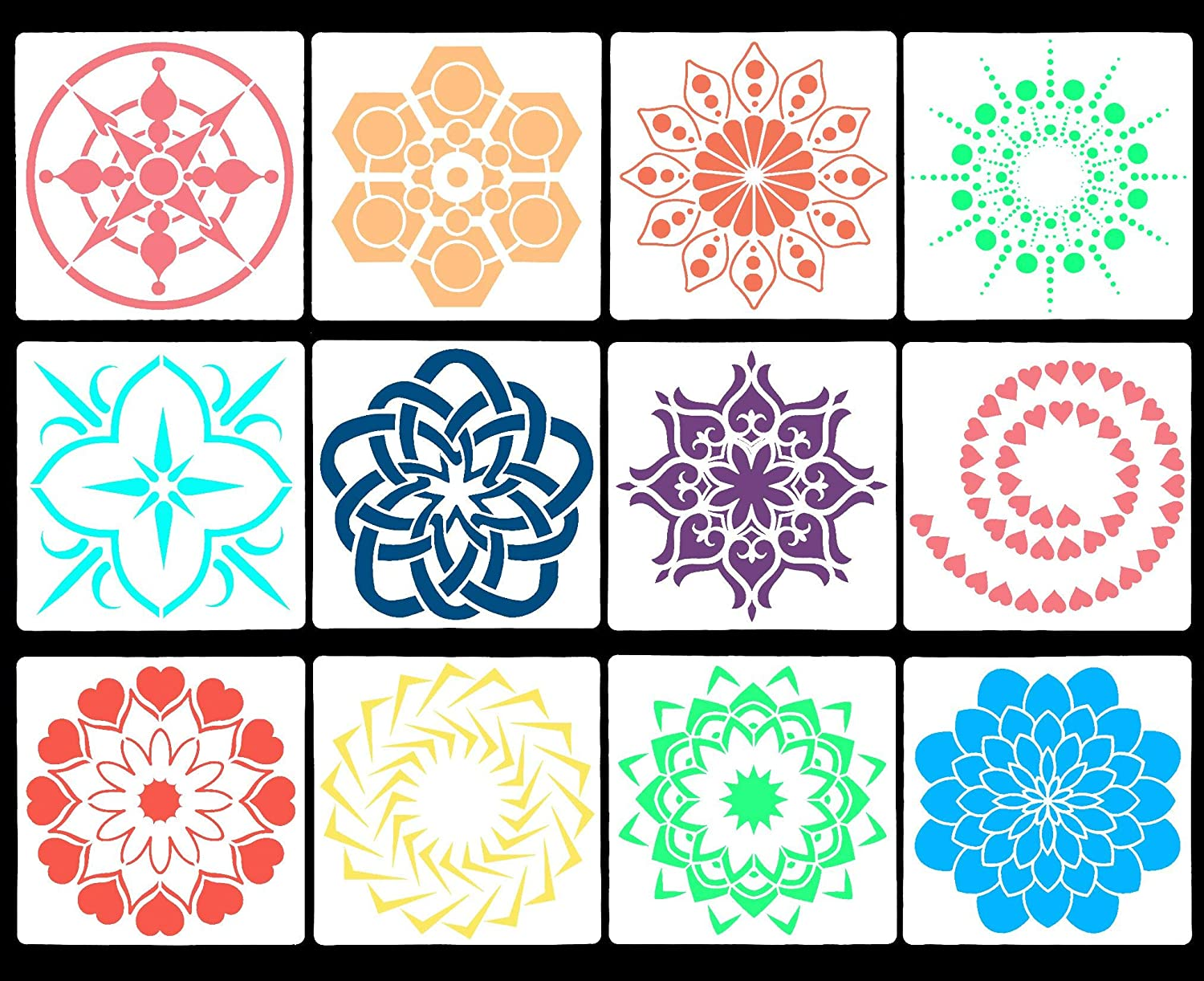 CCINEE 12pcs Reusable Painting Stencil Templates for DIY Wall Laptop Notebook Decoration Art Projects