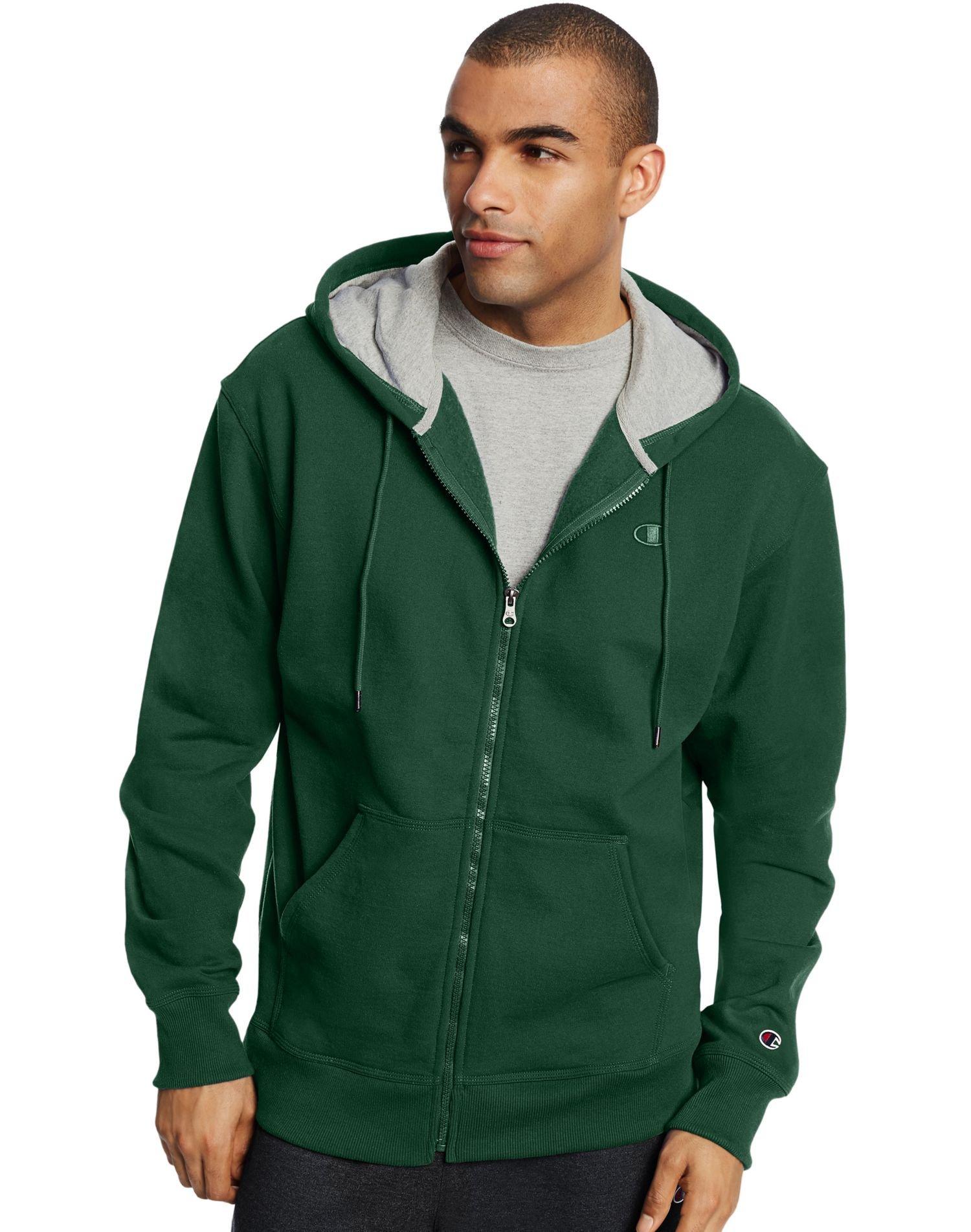 Champion Mens Powerblend Fleece Full Zip Jacket, 3XL, Dark Green by Champion