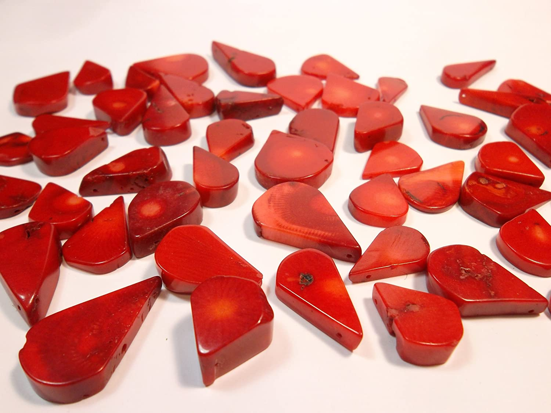 50 g. Coral Beads G617 - Piedra Natural Italiana de Coral con Perlas Rojas
