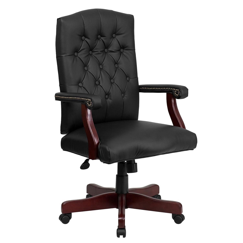 Flash Furniture Martha Washington Black Leather Executive Swivel Chair With  Arms