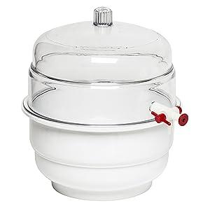 "Bel-Art""Space Saver"" Polycarbonate Vacuum Desiccator with White Polypropylene Bottom; 0.31 cu. ft. (F42025-0000)"