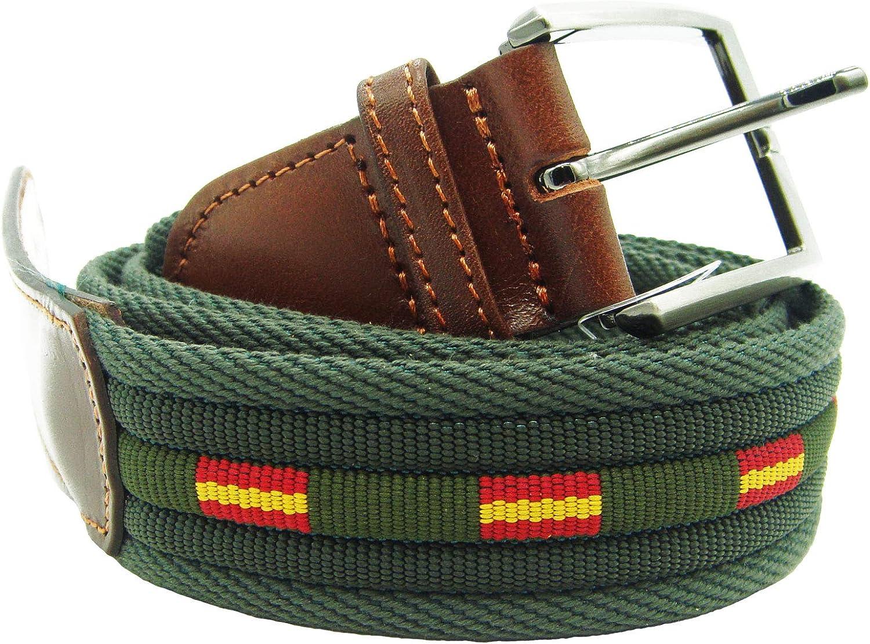 Pi2010 Cinturón verde con banderas de España, terminaciones en piel: Amazon.es: Ropa y accesorios