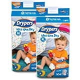 Drypers Dry Extra Large Size Diapers (Pack Of 2, 50 Counts Per Pack)