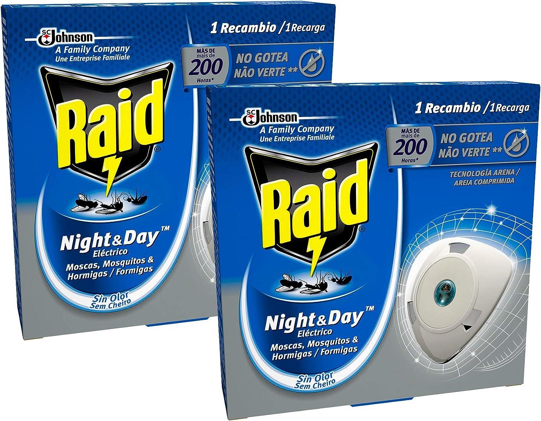 Raid - Night & Day Repelente de Moscas, Mosquitos y Hormigas, Recambio [Pack de 2]