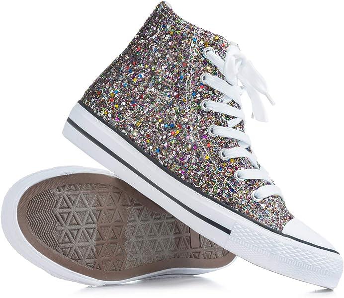 faca8e48e453 Double Platinum Adult Glitter High Top Sneaker GLITTERMULT06.5 Multi 6.5 M  US