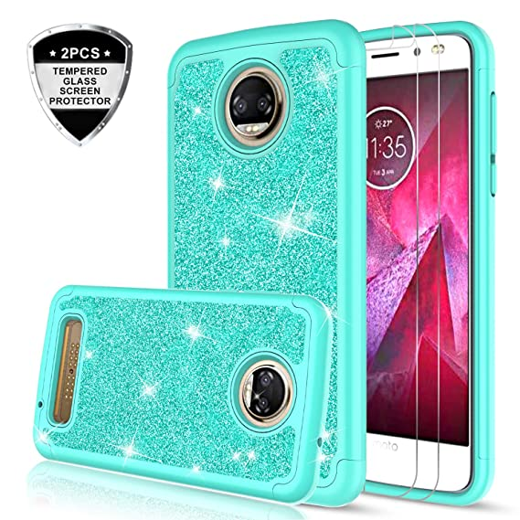 separation shoes 50854 31cc7 Moto Z2 Force Case with Tempered Glass Screen Protector [2 Pack] for Girls  Women,LeYi Glitter Bling Cute Design Dual Layer Protective Phone Case for  ...