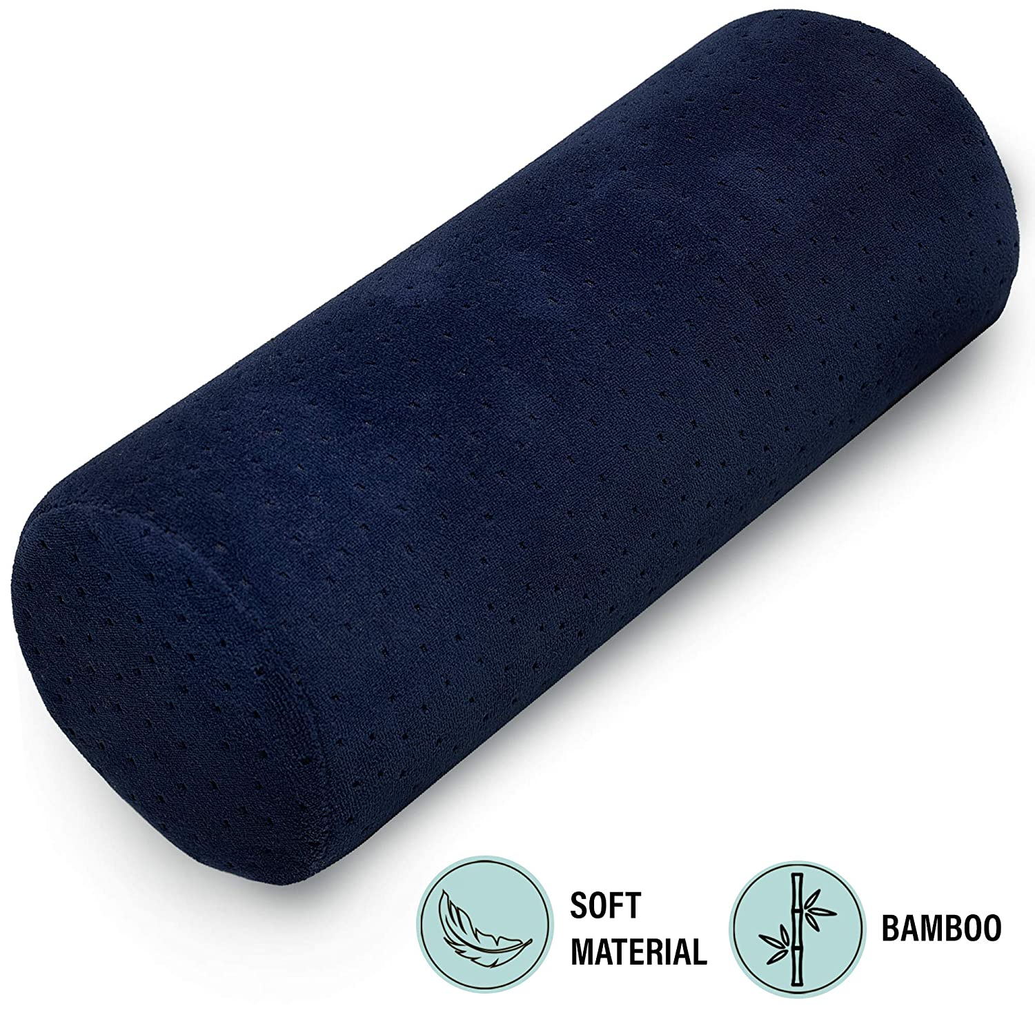 Bamboo Navy Round Cervical Roll Cylinder Bolster Pillow with Removable Washable Cover, Ergonomically Designed for Head, Neck, Back, and Legs || Ideal ...