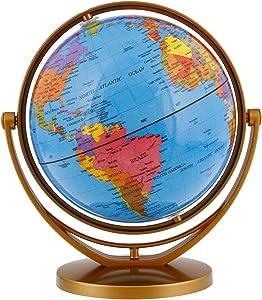 """TCP Global 5.6"""" (14.2cm) Blue Ocean Desktop World Globe Gold Base"""