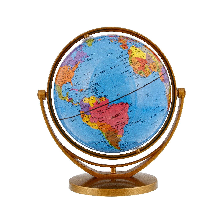 TCP Global 5.6'' (14.2cm) Blue Ocean Desktop World Globe Gold Base