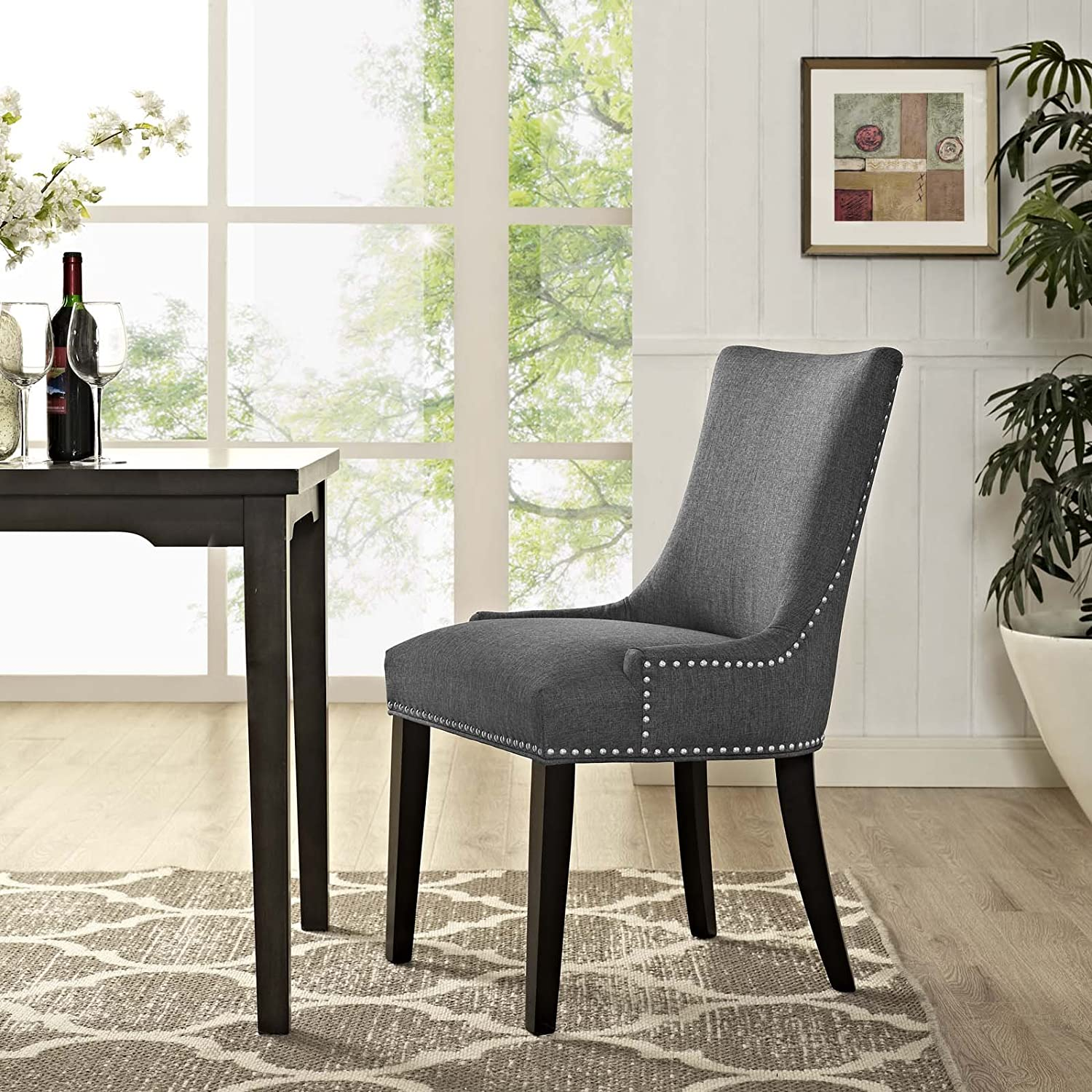 Modway Marquis Modern Upholstered Fabric Parsons Kitchen and Dining Room Chair with Nailhead Trim in Gray