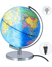 "World Globes for Kids - Educational World Globe with Stand Adults Desktop Geographic Gobles Discovery World Globe Educational Toy for Children - Geography Learning Toy Larger Size 12"" Lighted-Blue"