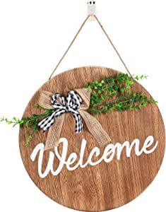 Outus Welcome Sign Round Wood Hanging Sign Wreaths Decoration for Home Door Porch Christmas Thanksgiving Holidays Decors, 12 Inches