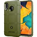Samsung Galaxy A30/A20 Case, Abbeen Carbon Fiber TPU Material, Anti-Fingerprint Case,Rugged Anti-Slip Cover Case for Samsung Galaxy A30/A20 Smartphones (Green)