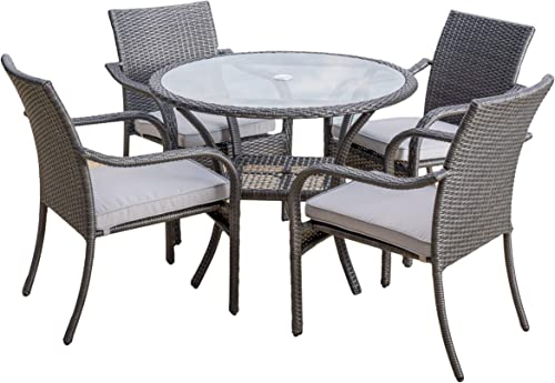 Christopher Knight Home Kadelyn Outdoor 5pc Grey Wicker Dining Set