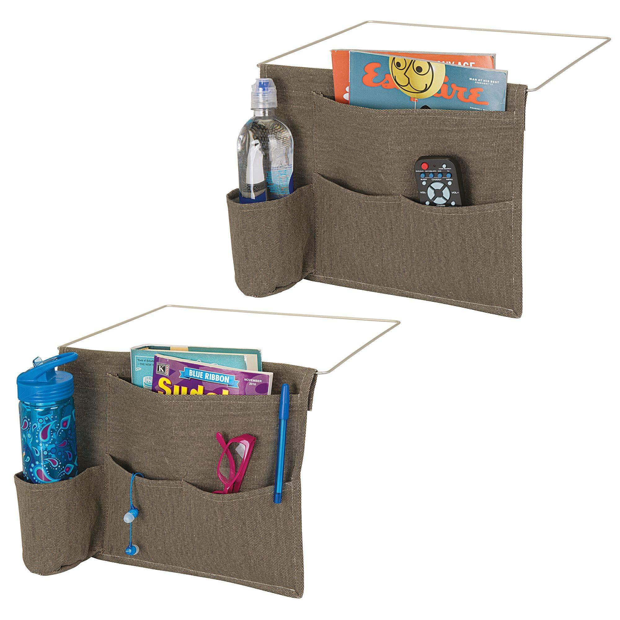 mDesign Bedside Storage Organizer Caddy Pocket - Slim Space Saving Design, 4 Pockets - Heavy Cotton Canvas - Holds Water Bottles, Books, Magazines - Pack of 2, Espresso/Wire Insert in Matte Satin