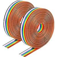 Huayue 2 st 10 stift bandkabel, regnbåge IDC kabel dupleont kabel platt band kabelband jumper kabelavstånd…
