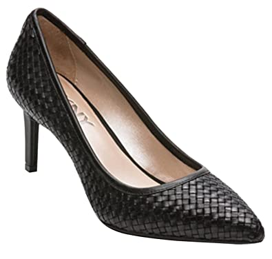c8c9027a85b1 DKNY Donna Karan Eviey Ladies Court Pump Heeled Shoes Woven Leather Black  Pointed Toe Heel