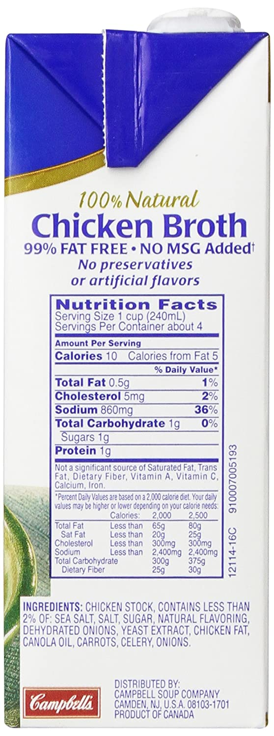 Chicken Stock Fat Free Food Label