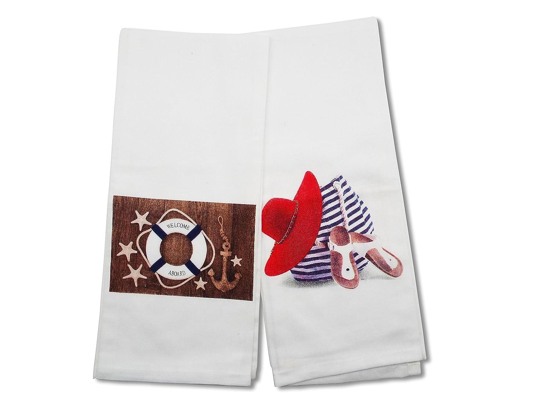 Amazon.com: Beach-Themed Kitchen Towel Set - Set of 2- Cotton with ...