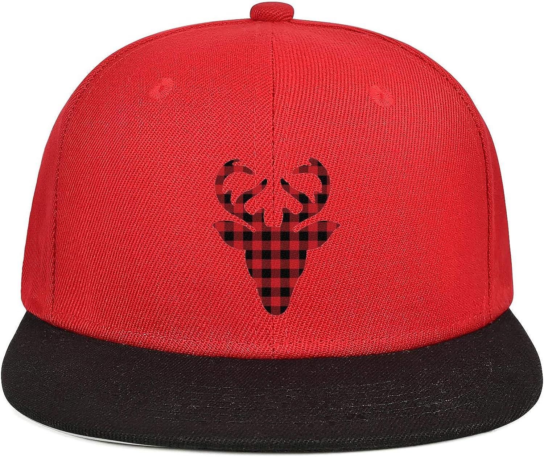 Mens Womens Mesh Dad Cap Red and Black Plaid Moose Deer Head Christmas Snapback Brim Hat