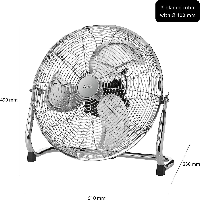 AEG VL 5606 WM Ventilador de suelo vintage diseño retro, 40 cm, 100 W, Metal, 3 Velocidades, Plata: Amazon.es: Hogar