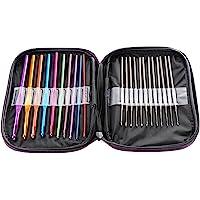 LIHAO Mixed Aluminum Handle Crochet Hooks Knitting Knit Needles Weave Yarn Set- 22 pieces