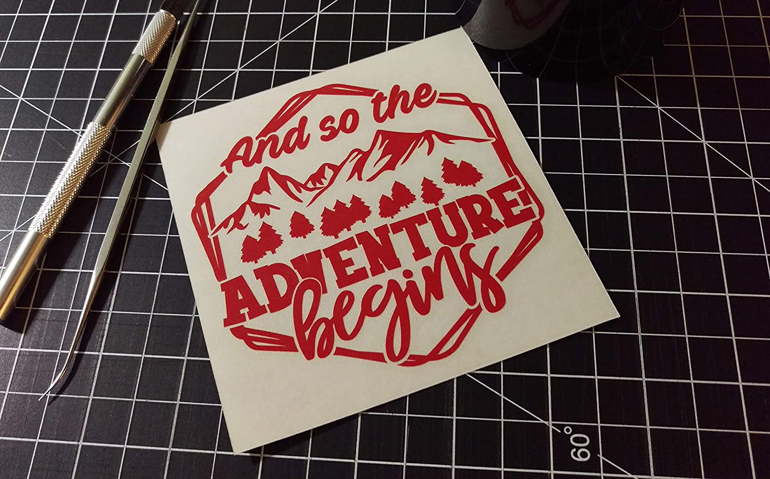 And So The Adventure Begins Vinyl Decal Hiking RV Decal Traveling Mountains Camping Camper Decal Window Decal Outdoors
