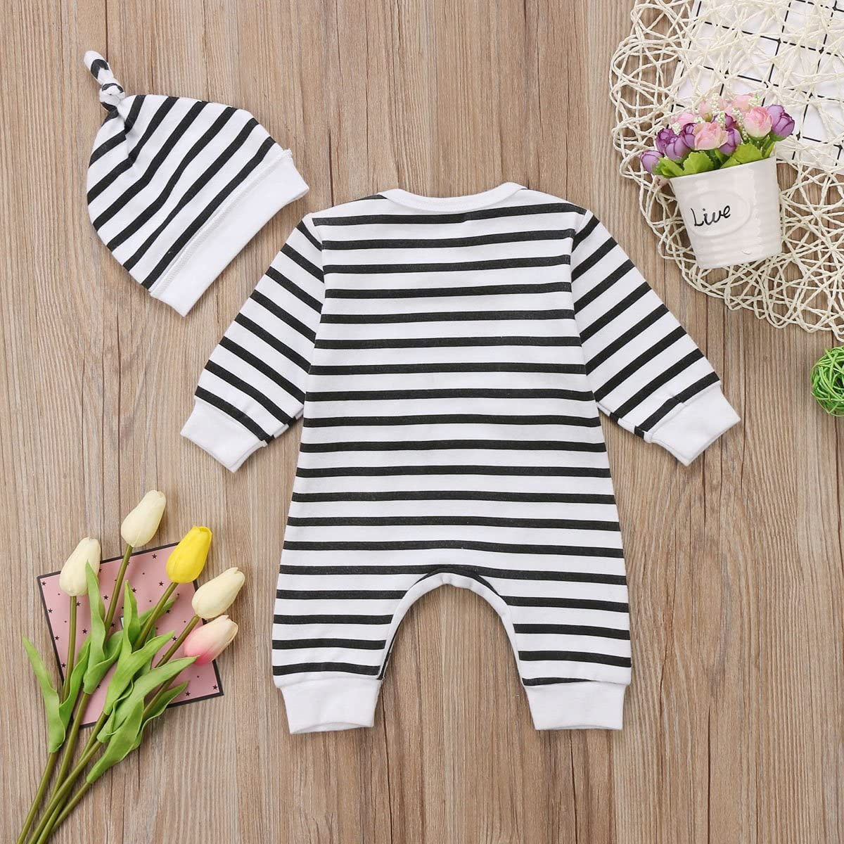 Annvivi One Piece Cotton Baby Boys Girls Striped Romper Pajamas with Hat Set