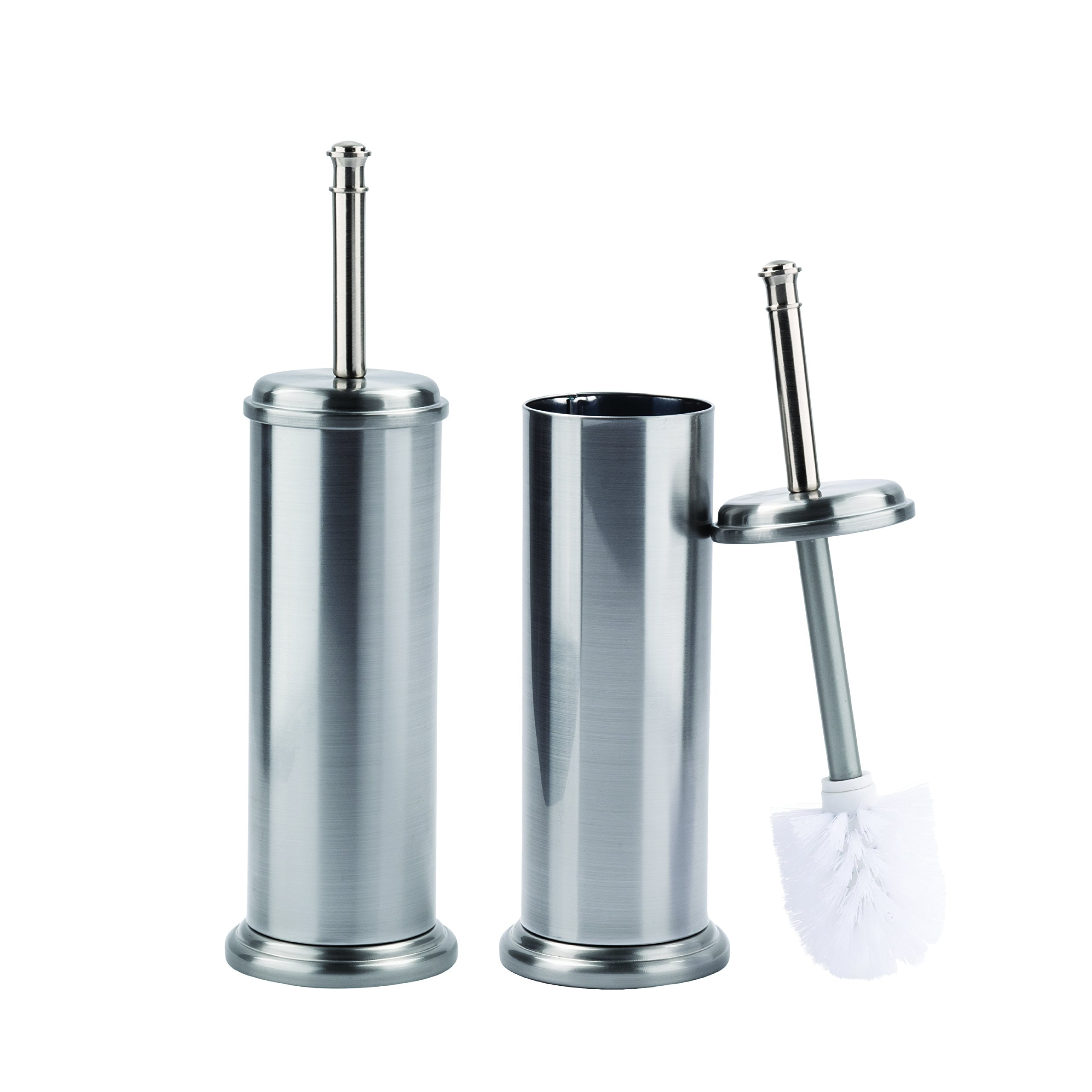 Toilet Brush and Canister Metal Stem Brushed Nickel Finish 2 Pack by LDR Industries