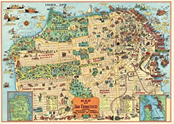 Amazoncom Cavallini Co San Francisco Map Chart Poster Wrapping