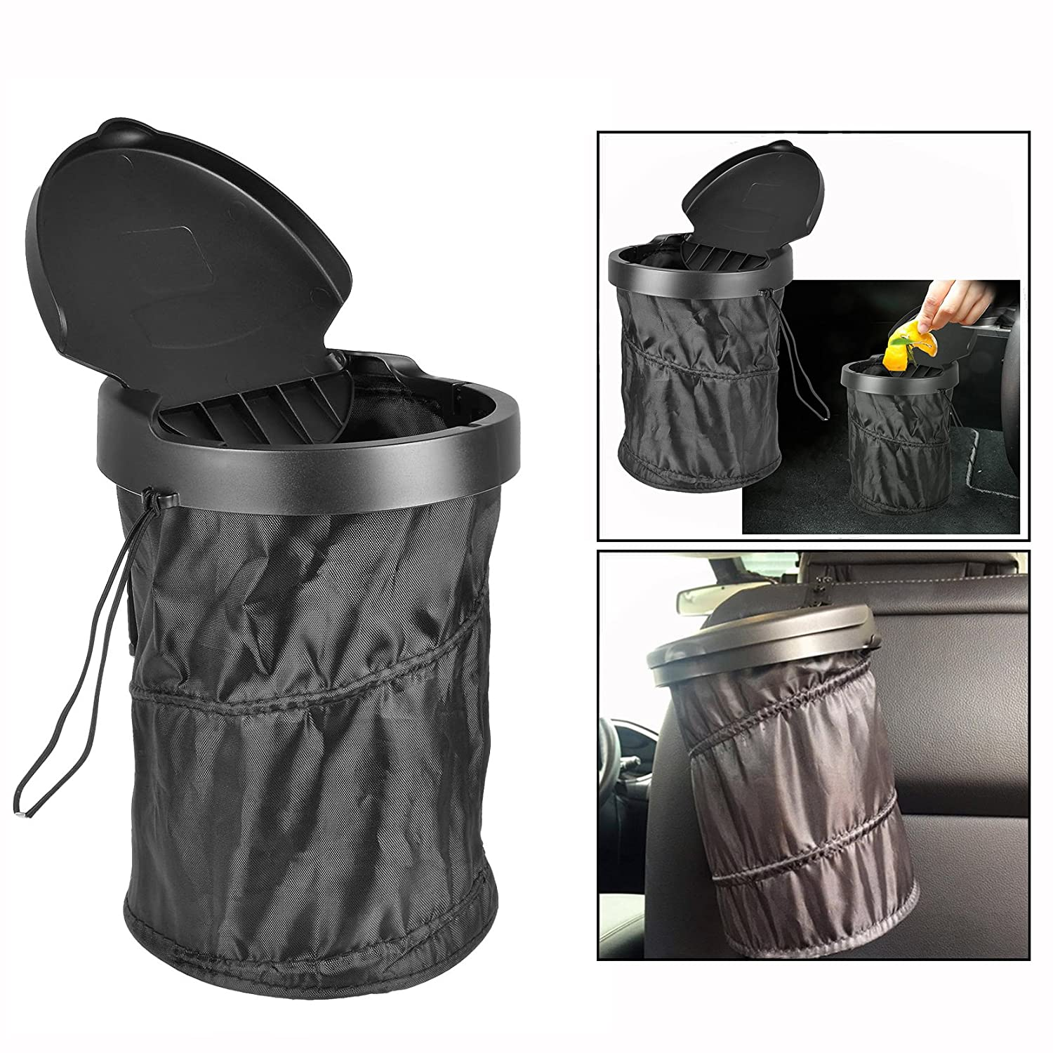 OFKPO Lightweight Multifunctional Car Trash Can Traveling Portable Car Trash Can Auto Foldable Car Garbage Holder With Cover(Black)