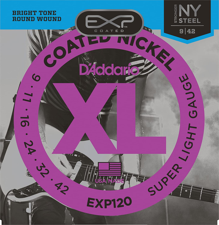 DAddario EXP125 Cordes pour Guitare /Électrique avec Rev/êtement Super Light Top//Regular Bottom 9-46 Transparente
