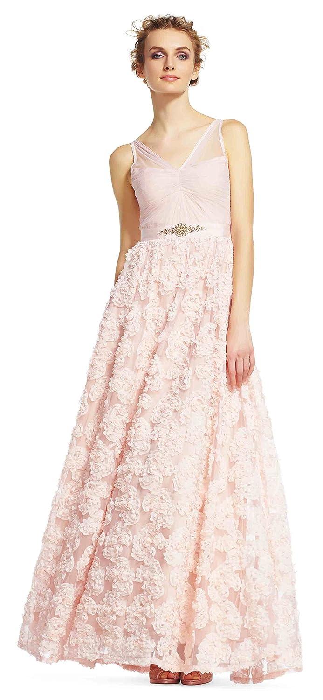 Amazon.com: Adrianna Papell Women\'s Sleeveless Tulle Chiffon Petal ...
