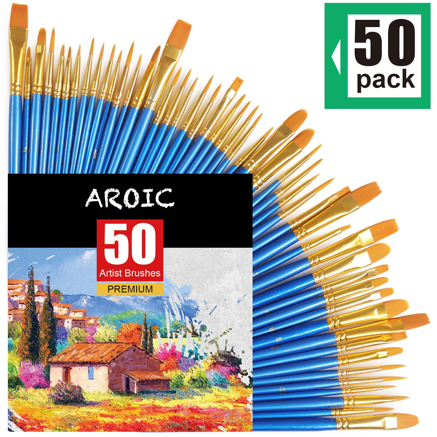 AROIC Paintbrushes Set, 50 pcs Nylon Hair Brushes for Acrylic Oil Watercolor Artist Professional Painting Kits, Pack by AROIC