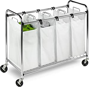 Honey-Can-Do Heavy Duty Quad Rolling Laundry Sorter Hamper, Chrome/White