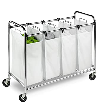 rolling laundry basket with handle cart target honey can do heavy duty quad sorter