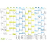 Wandkalender 2019 89x63cm (größer A1) gefalzt, Wandplaner 15 Monate Nov 18 - Jan 20, FSC-Papier, inkl. A4-Kalender