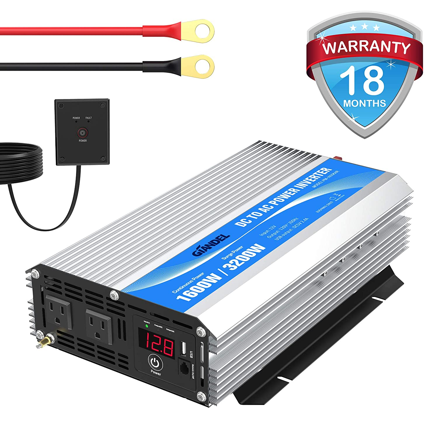 GIANDEL 1600Watt Power Inverter DC 12volt to AC 120volt with Remote Control & LED Display and 2.4A USB Port for Trucks Boats RV & Emergency
