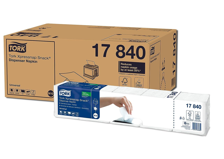 Tork Xpressnap Snack 13671 Servilleta extrasuave Premium / 2 capas/Recambios para el sistema N10 servilletero / 8 paquetes x 500 servilletas / 21,3 cm x 21 ...