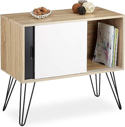 Relaxdays Commode Retro Design En Bois Et Metal Annees 60 Sideboard Meuble Rangement Scandinave Hxlxp 70 X 80 X 40 Cm Noir Blanc Amazon Fr Cuisine Maison