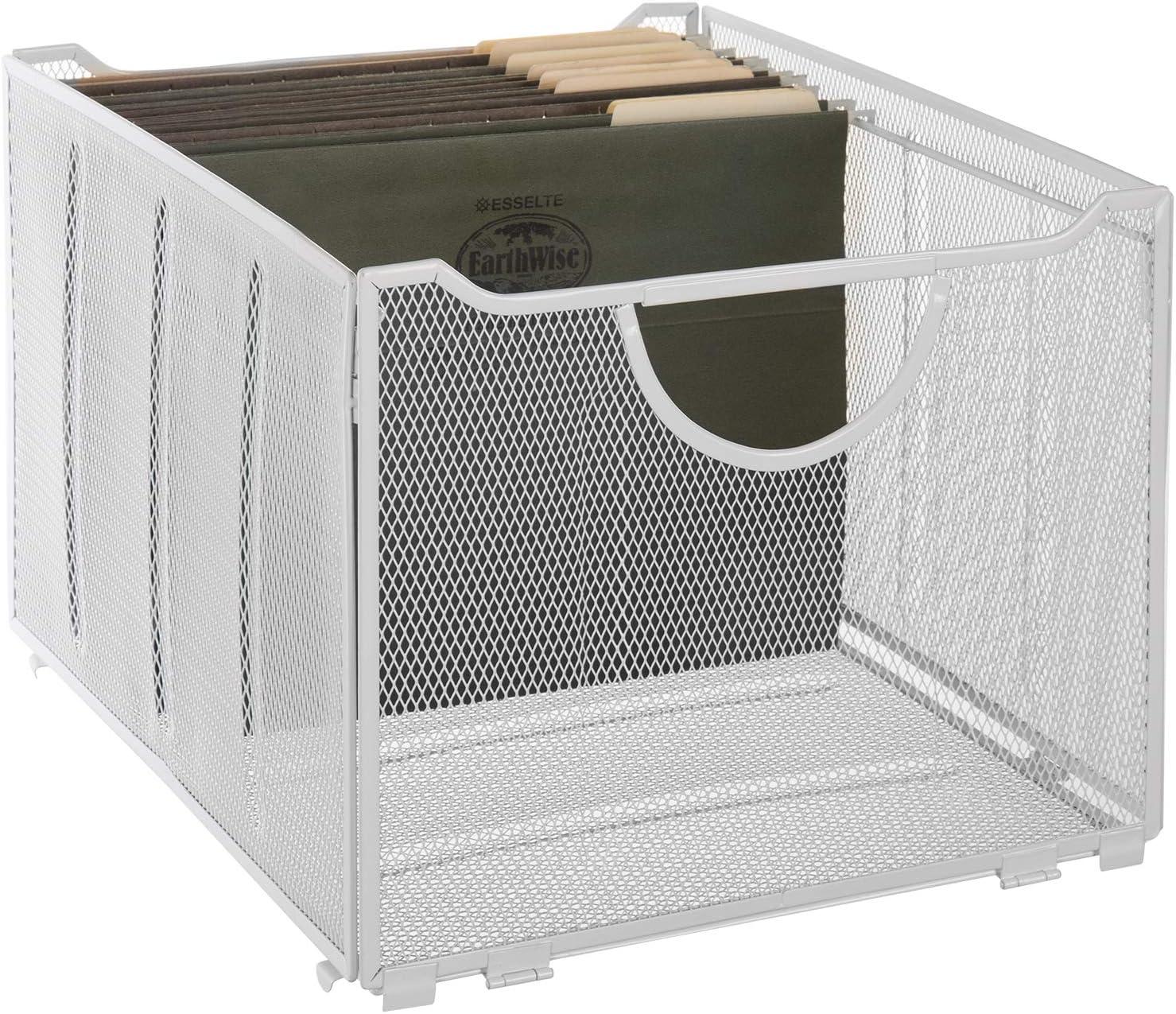 MyGift Modern White Metal Mesh Hanging File Folder Storage Crate