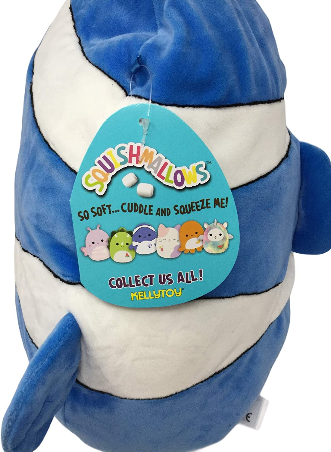 Hug Or Use As A Pillow Ricky The Blue and White Clownfish Summer Fun Squishmallow 13 inch Plush Great Travel Mate Cuddle