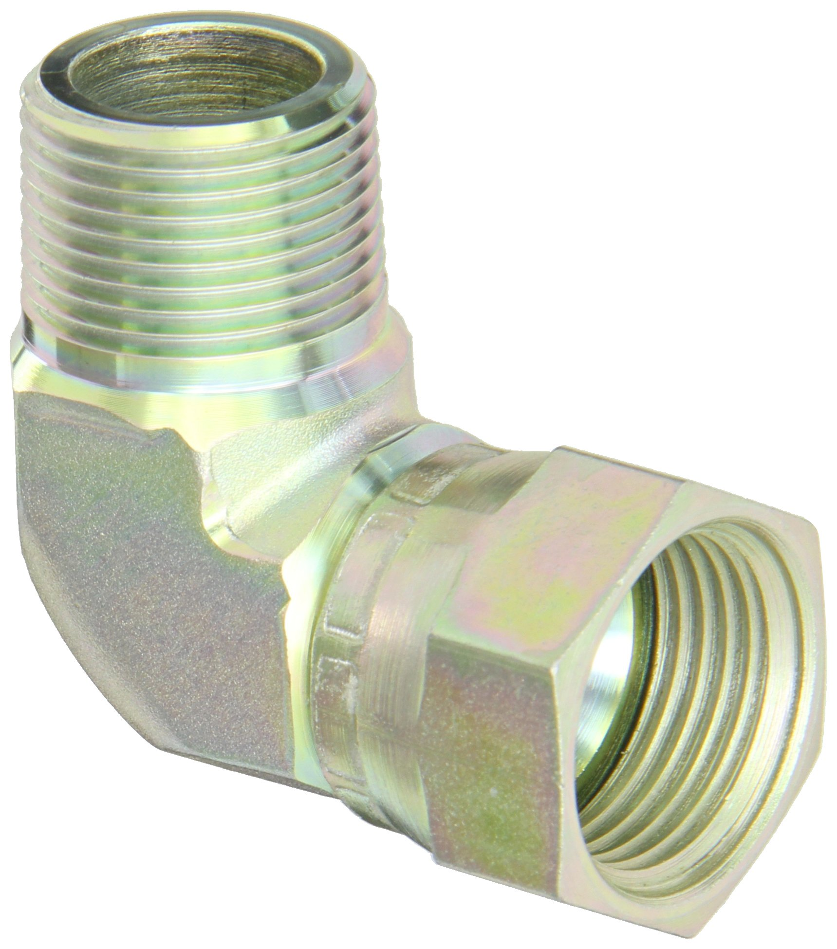 Eaton Aeroquip 2250-12-12S 90 Degree Male Pipe to JIC Swivel, JIC 37 Degree & NPT End Types, Carbon Steel, 3/4 JIC(f) x 3/4 NPT(m) End Size, 3/4'' Tube OD, 3/4'' Male Pipe Size by Aeroquip